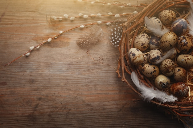 Buntes osterei im nest auf dunklem hölzernem brett.
