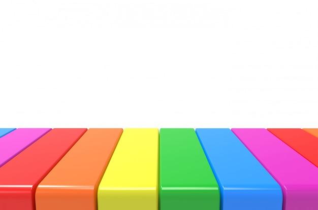 Buntes plattenmuster des lgbt-regenbogens auf grauem wandhintergrund