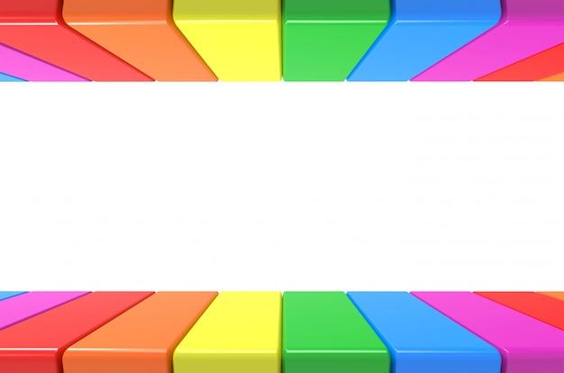 Buntes plattenmuster des lgbt-regenbogens herein auf und ab auf grauem wandhintergrund