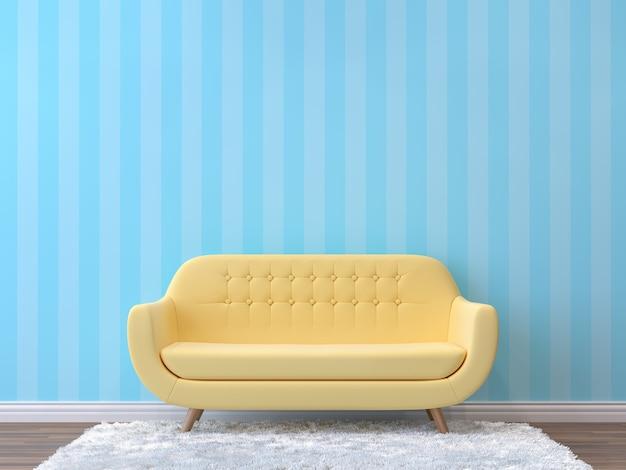 Buntes wohnzimmer mit pastellfarbenem 3d-rendering mit gelbem sofa eingerichtet