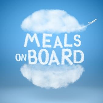 Burger aus natürlichen wolken und text mahlzeiten an bord