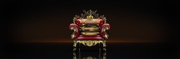Burger mit krone 3d-rendering