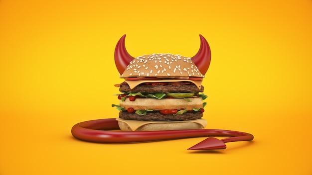 Burger verkleidet sich für halloween 3d-rendering