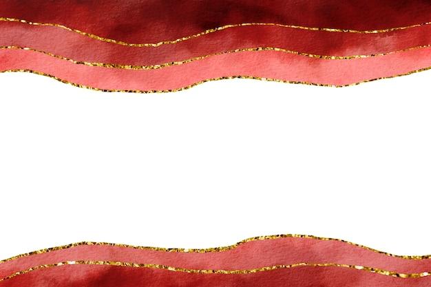 Burgunder aquarell hintergrund mit goldener grenze