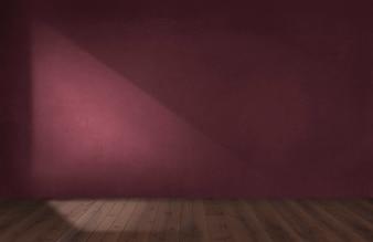 Burgunder rote Wand in einem leeren Raum mit einem Bretterboden