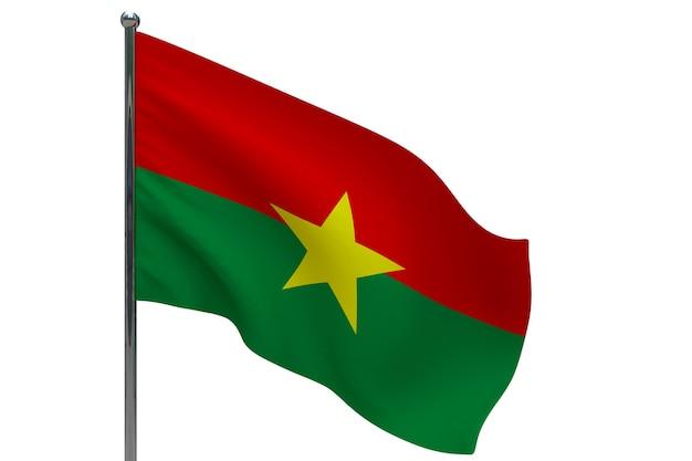 Burkina faso flagge auf pole. fahnenmast aus metall. nationalflagge von burkina faso 3d-illustration auf weiß