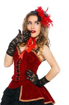 Burleske. attraktives mädchen im schönen kleid