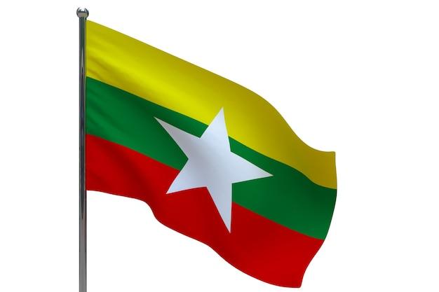 Burma flagge auf der stange. fahnenmast aus metall. nationalflagge von burma 3d-illustration auf weiß