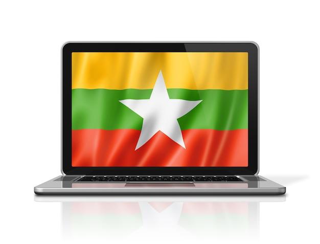 Burma myanmar flagge auf laptop-bildschirm isoliert auf weiss. 3d-darstellung rendern.