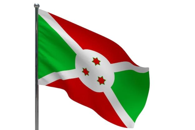 Burundi flagge auf stange. fahnenmast aus metall. nationalflagge von burundi 3d-illustration auf weiß
