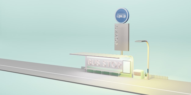 Bushaltestelle cartoon stadt öffentliche verkehrsmittel 3d-darstellung