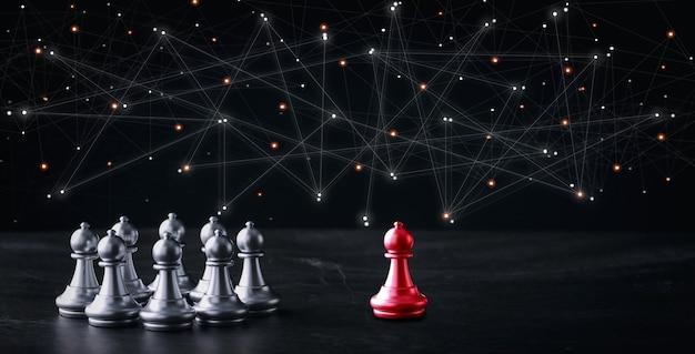 Business control schachbrettspiel der geschäftsstrategie und -taktik mit futuristischem grafiksymbol auf dem tisch. idee für managementwettbewerb, erfolgs- und führungskonzept für ihre werbeinhalte.