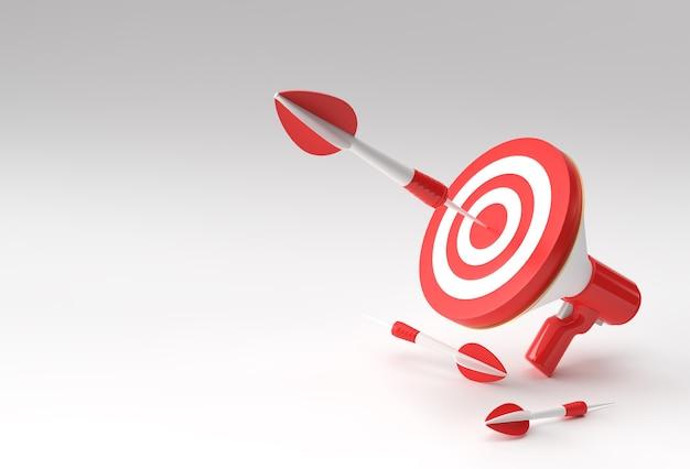 Business goal lautsprecherziel mit pfeil business goals achievement, aim, business strategy 3d design.