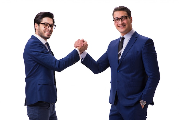 Business handshake isoliert