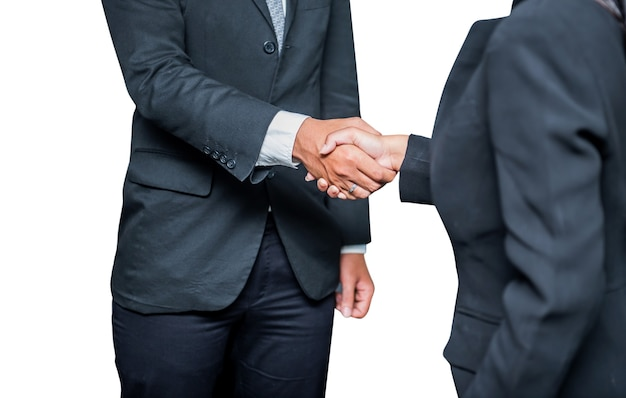 Business handshake und teamwork für erfolg und ziel. ausschnitt und weg