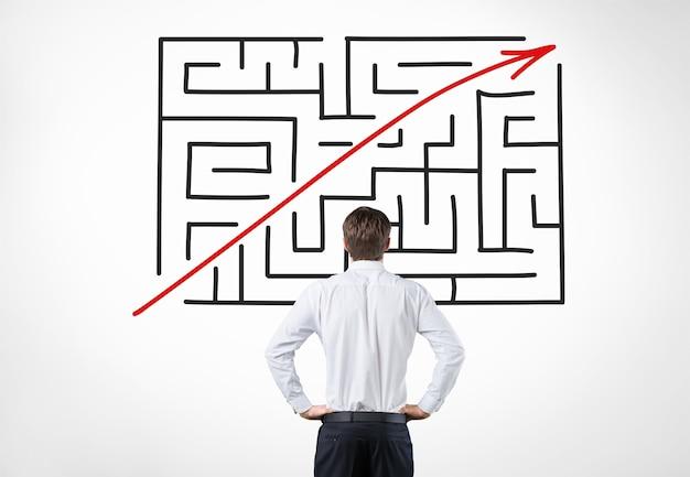 Business komplex mann labyrinth antwort pfeil hintergrund