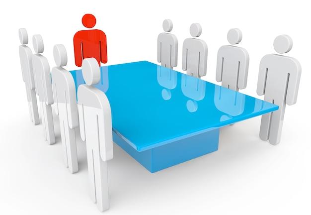 Business-meeting-konzept. personen mit führer um den tisch auf weißem hintergrund