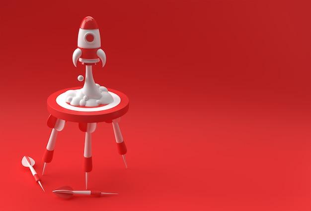 Business start-up-rakete hebt target mit pfeil 3d business design ab.