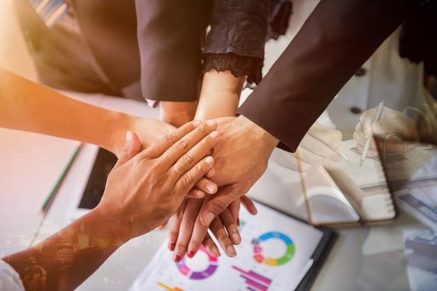 Business-teamwork-meeting und erfolg für das leistungsziel