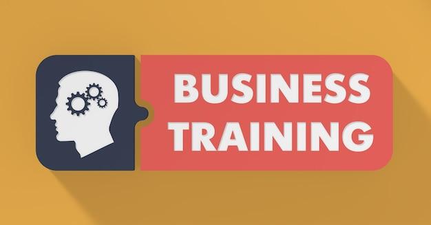 Business training konzept im flachen design mit langen schatten.