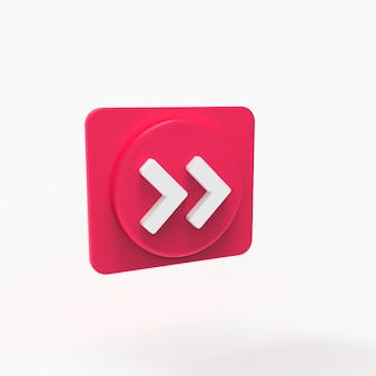 Button forward spielen musikkonzept social media 3d-visualisierung