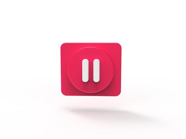 Button plause musikkonzept social media 3d-visualisierung