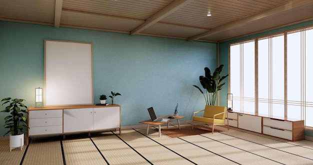 Cabinet mock up, minimal mint wohnzimmer, tatami-mattenboden und sesseldesign. 3d-rendering