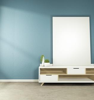 Cabinet tv mock-up-design auf dark room japanese style.3d rednering