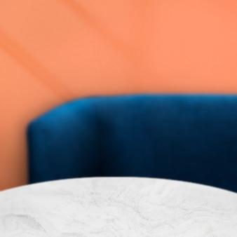 Café-produkthintergrund, sofa und tisch
