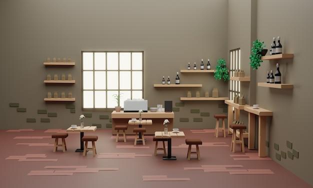 Café-shop-design low-poly-mock-up, 3d-rendering
