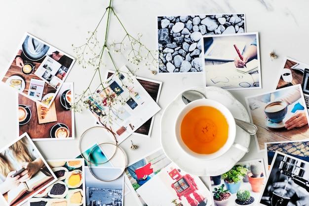 Café-tee-zeitbruch-entspannungs-fotografie-konzept