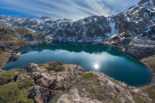 Calabazosa see im somiedo naturpark in asturien, spanien