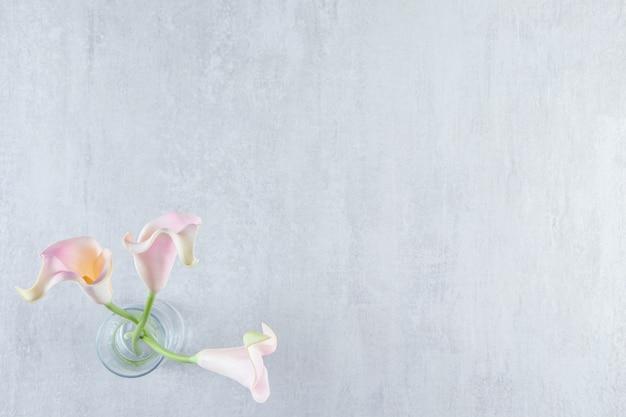 Calla-lilie in einem krug auf dem marmortisch.