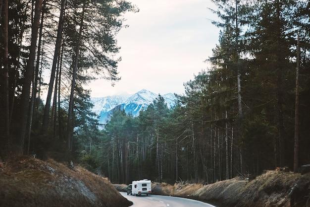 Camper auto fahren auf waldweg
