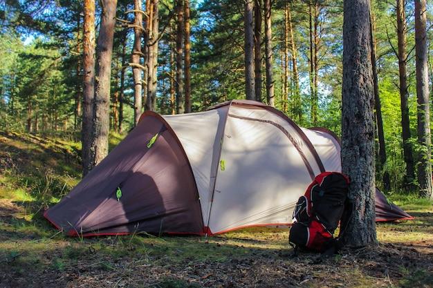 Camping in der natur. touristenfamilienzelt im wald und ein wanderrucksack in der nähe eines baumes.