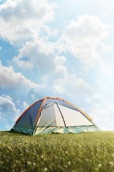 Campingzelt im gras. tourismus. abenteuer. wanderung. hintergrund.