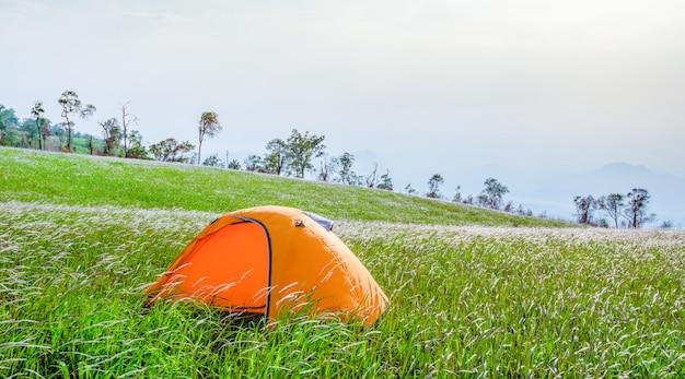 Campingzelttourist auf hügelberglandschaft des grünen grases auf steigungshügel