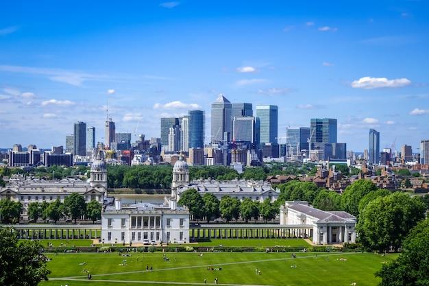 Canary wharf blick von greenwich park, london, großbritannien