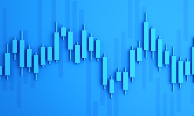 Candle-stick-diagramm des online-börsenhandels, 3d-render-illustrationshintergrund