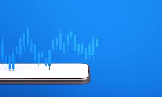 Candle-stick-diagramm des online-börsenhandels mit mobiltelefon, 3d-rendering-illustrationshintergrund