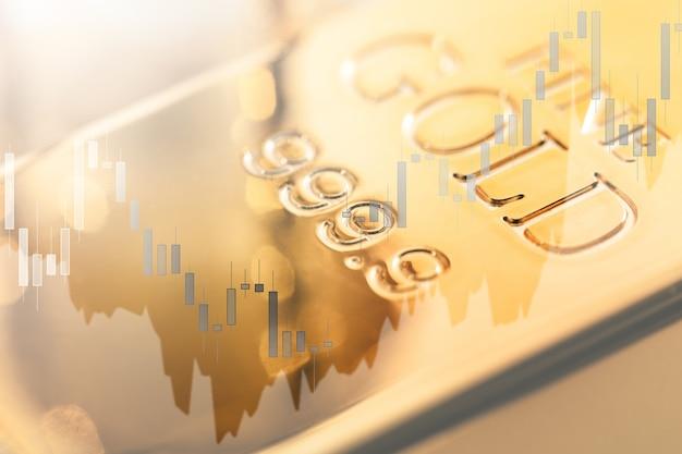 Candlestick-diagramm mit änderungen des goldpreises. konzept der investition in wertvolle materialien.