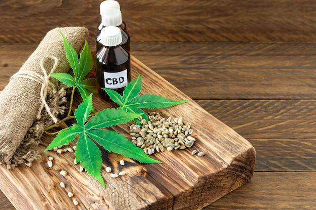 Cannabis cbd öl hanfprodukte - kapseln und hanfsamen.