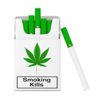 Cannabis-zigaretten-pack-konzept mit einer cannabis-zigarette auf weißem hintergrund. 3d-rendering