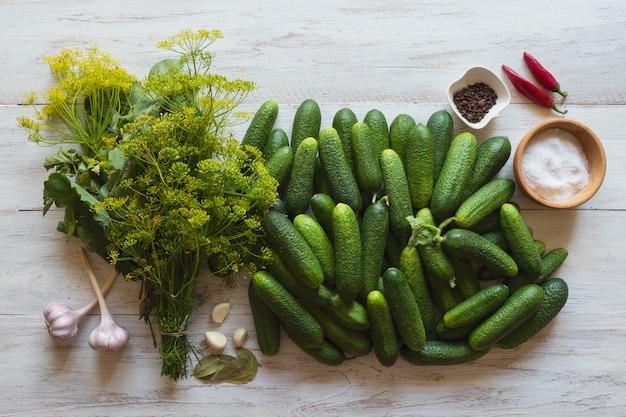 Canning gurken konzept. gewürzset zum einlegen von gurken für den winter.