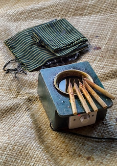 Canting- und batik-wachsflüssigkeit zur herstellung von batik, traditionellem indonesischem stoff. canting ist ein werkzeug, das verwendet wird, um eine wachsflüssigkeit zu bewegen oder zu nehmen, die normalerweise zur herstellung von batik verwendet wird, einem typisch indonesischen handwerk