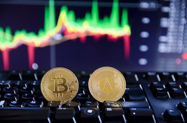 Cardano und bitcoin ada coin token digitale kryptowährungsmünze für dezentrales finanzbanking