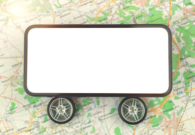 Carsharing- und autovermietungs-app-konzept, mobiltelefon mit rädern, leerer weißer bildschirm auf einem stadtplan, kopienraumfoto
