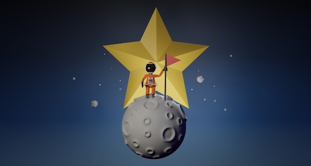 Cartoon-astronaut mit flagge steht auf mond und stern hinter 3d-rendering