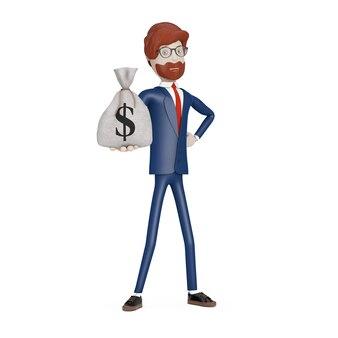 Cartoon-charakter-geschäftsmann mit gebundenen rustikalen leinwand leinen geldsack oder geldsack mit dollarzeichen in der hand auf weißem hintergrund. 3d-rendering