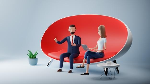 Cartoon-charakter-geschäftsmann und frau mit laptop sitzen in roter couch. vorstellungsgespräch für geschäftstreffen. 3d-rendering